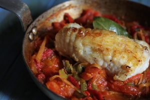 Roasted Monkfish with Piperade Sauce