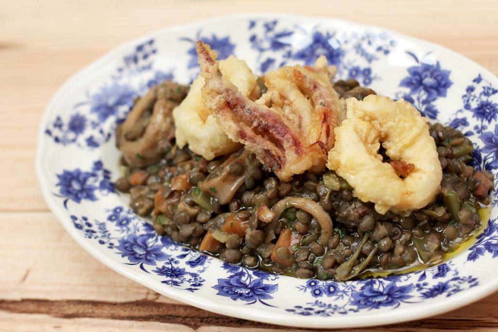 Lentil Stew with Crispy Baby Squid