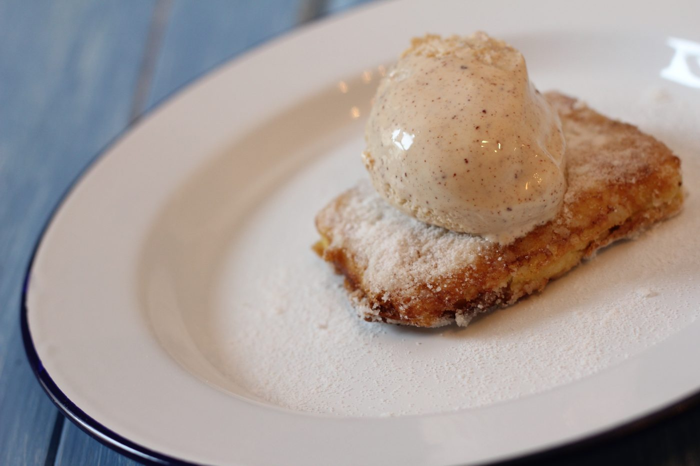 Leche Frita with Cinnamon Ice Cream