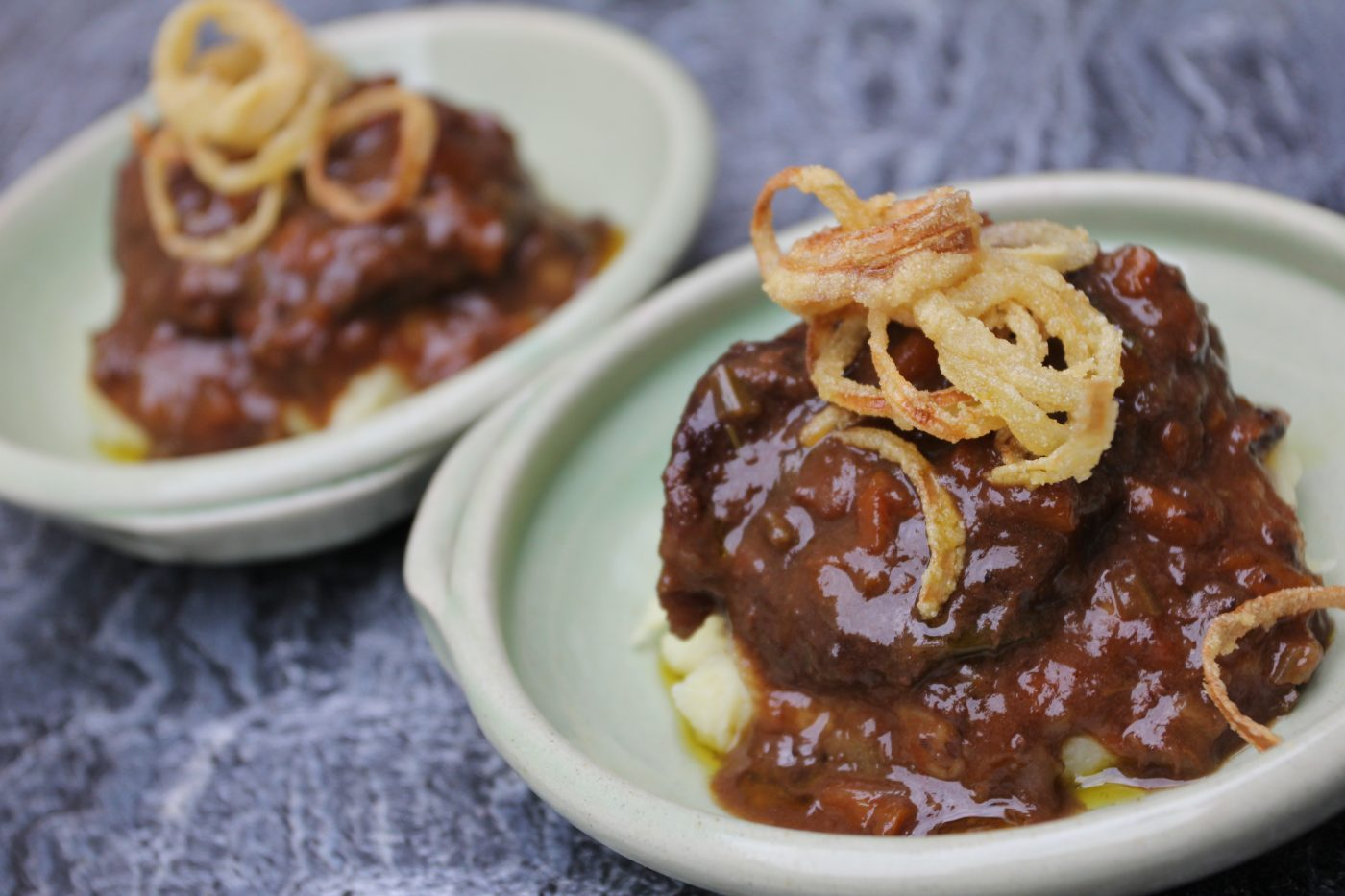 Sherry Braised Pork Cheeks with Roasted Garlic Mashed Potatoes