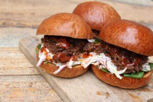 Iberico Pork Cheek Burgers with Brandy BBQ Sauce