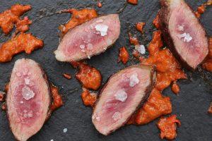 Presa Iberica with Mojo Rojo Sauce