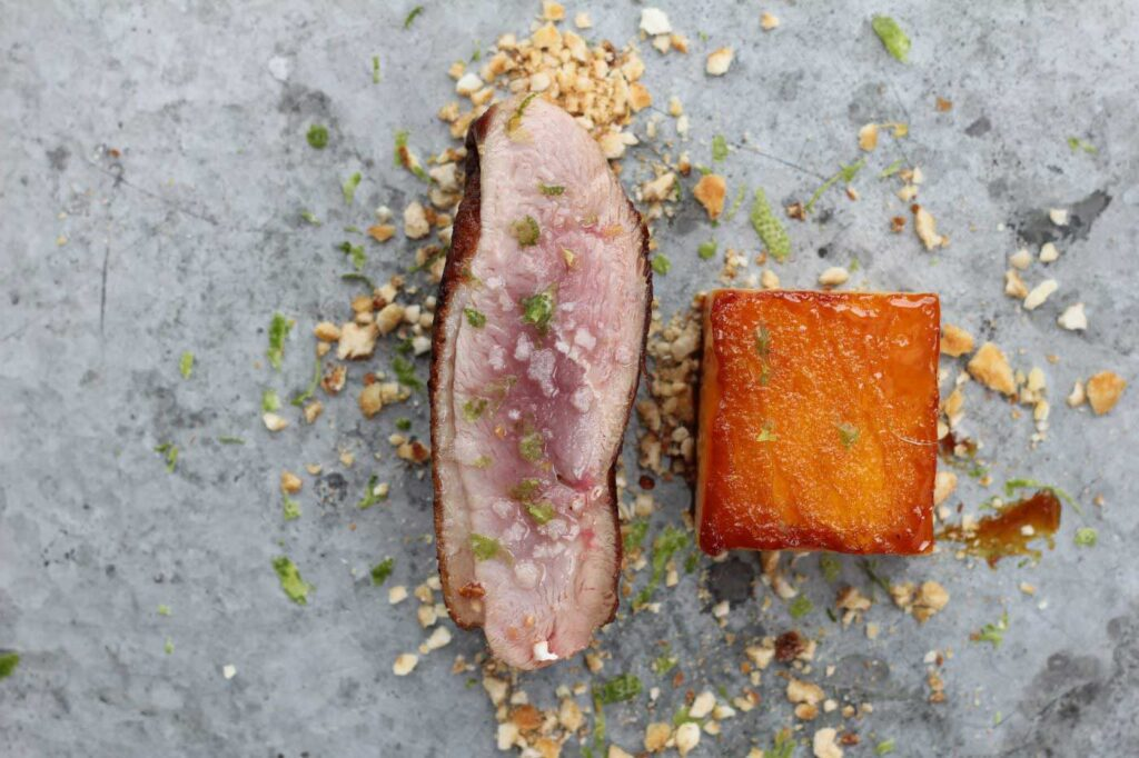 Duck Breast with Mango, Salted Corn and Lime