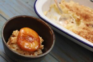 Arroz con Leche with Caramelised Peaches
