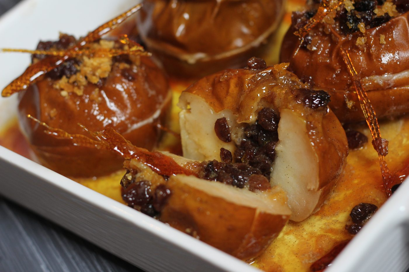 Baked Apples with Raisins and Rum Caramel Sauce