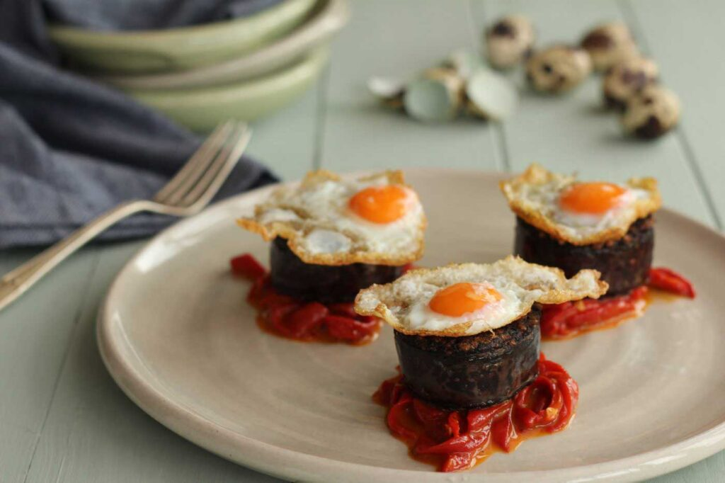 Morcilla with Piquillo Peppers and Quail Eggs