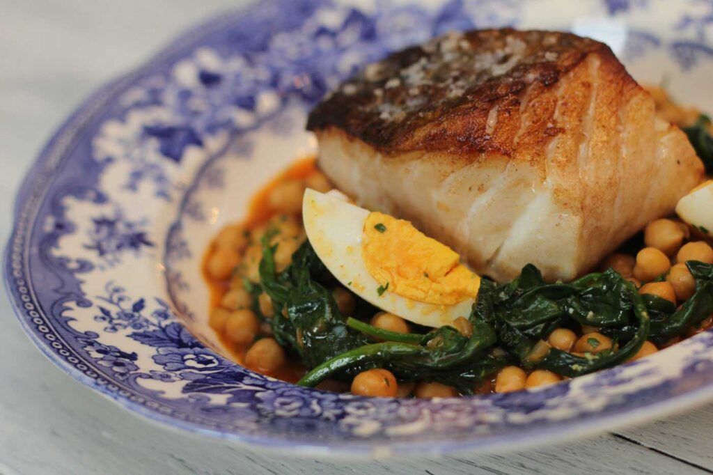 Roast cod with chickpeas, smoked paprika and spinach