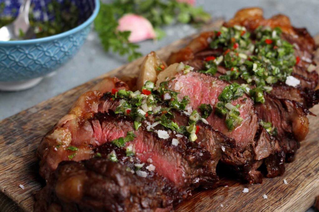 Barbecued Galician Sirloin Steak with Chimichurri Sauce