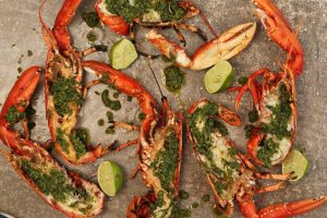 Barbecued Lobster with Mojo Verde Sauce