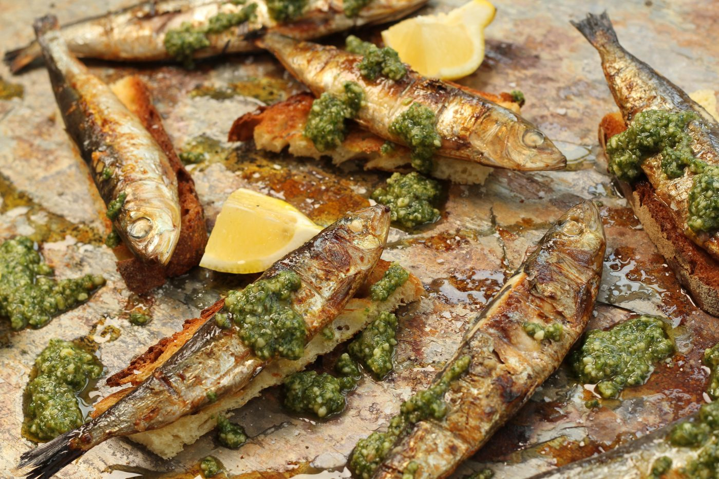 Barbecued Sardines on Toasted Sourdough with Walnut Pesto