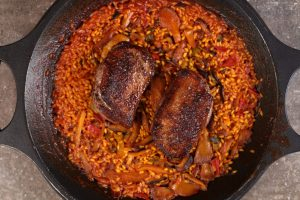 Paella Rice with Spiced Duck and Wild Mushrooms