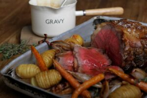 Roast Galician Sirloin of Beef, Caramelised Carrots, Braised Shallots and Sherry Juices