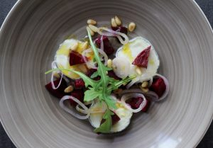 Smoked Beetroot, Goats Cheese and Pickled Shallot Salad