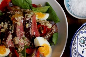 Warm Galican Steak Salad with Anchovy and Caper Vinaigrette
