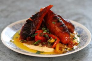Chargrilled Chorizo with Escalivada and Chickpea Puree