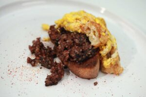 Spanish Scrambled Eggs with Black Pudding