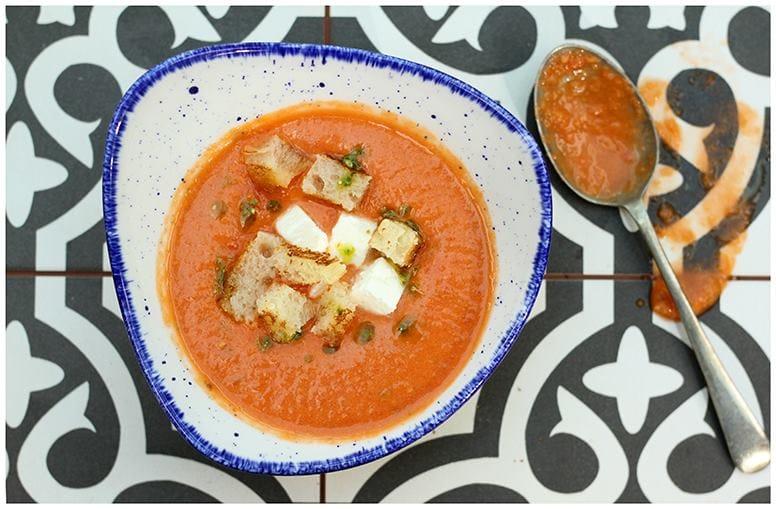 Watermelon Gazpacho with Feta Cheese and Basil Oil