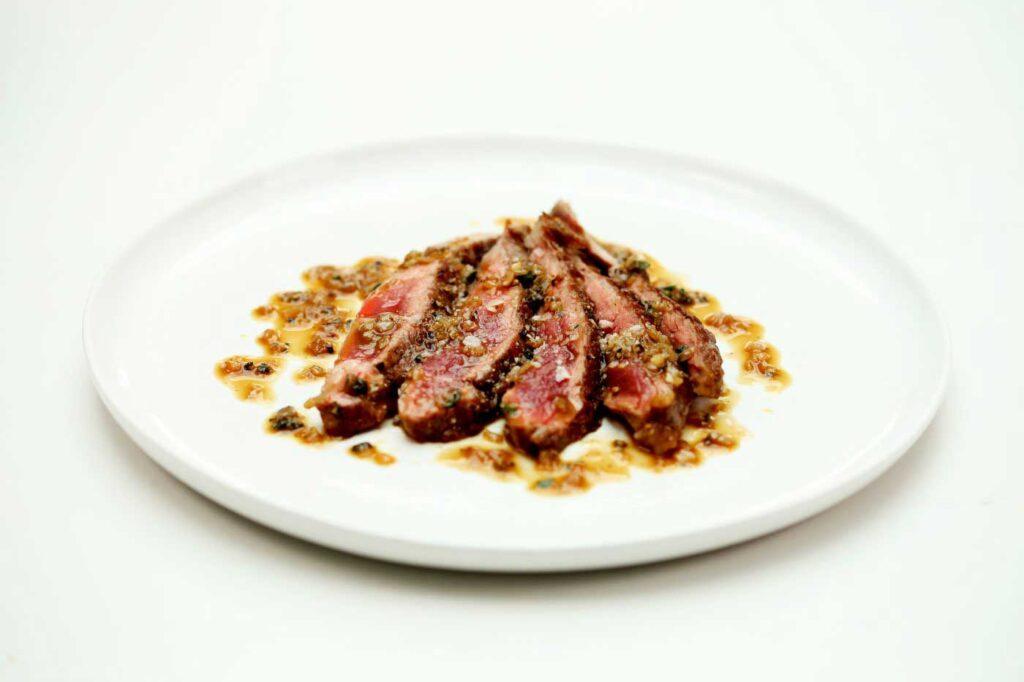 Abanico Iberico Pork with Peppercorn Sauce