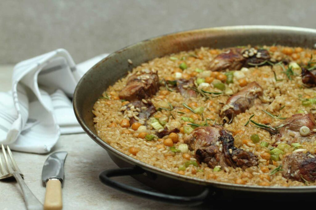 Paella Rice with Rabbit, Chickpeas and Rosemary