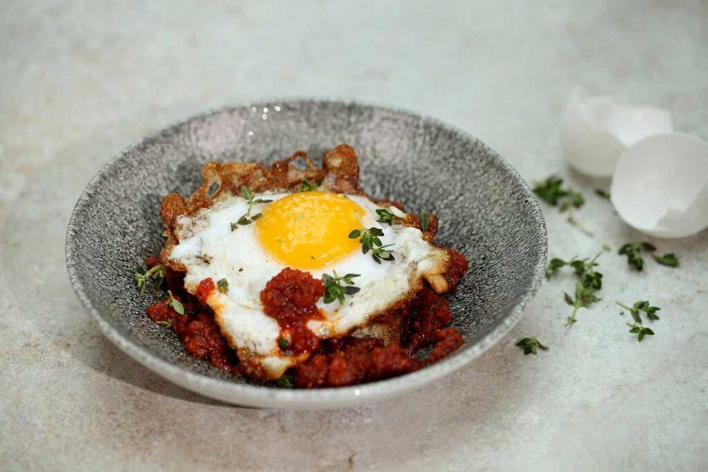 Fried Duck Egg with Sobrasada Sausage