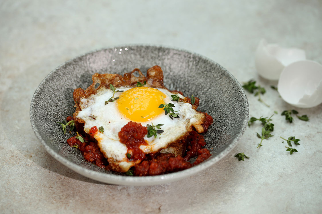 Fried Duck Egg with Sobrasada Sausage