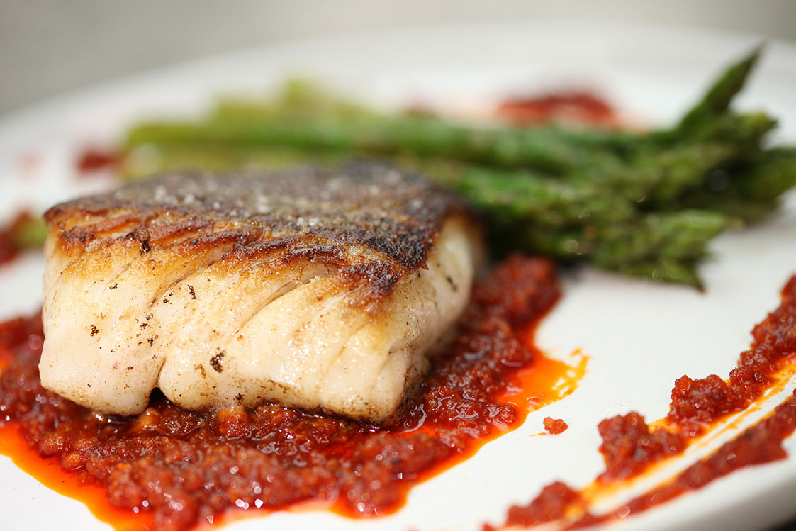 Pan Fried Cod with Green Asparagus and Sobrasada Sausage