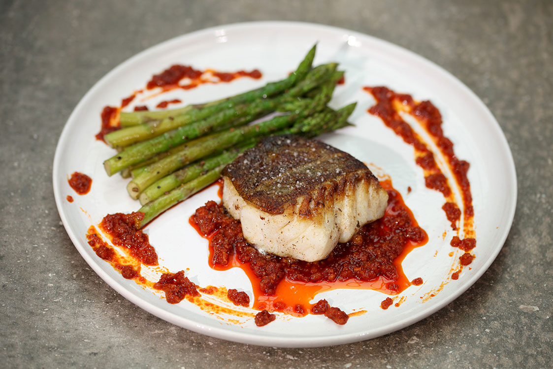 Pan Fried Cod Green Asparagus And Sobrasada Sausage Basco Recipe