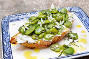 Broad Beans and Minted Goats Cheese on Toast
