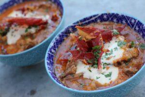 Sopa de ajo with ibérico pork cheek, sour cream and crispy serrano ham
