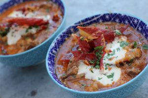 Sopa de ajo with ibérico pork cheek, sour cream and crispy serrano ham