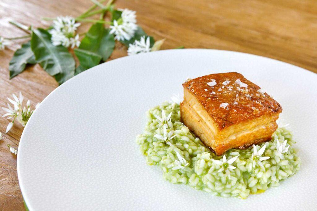 Crispy Pork Belly with Wild Garlic Arroz
