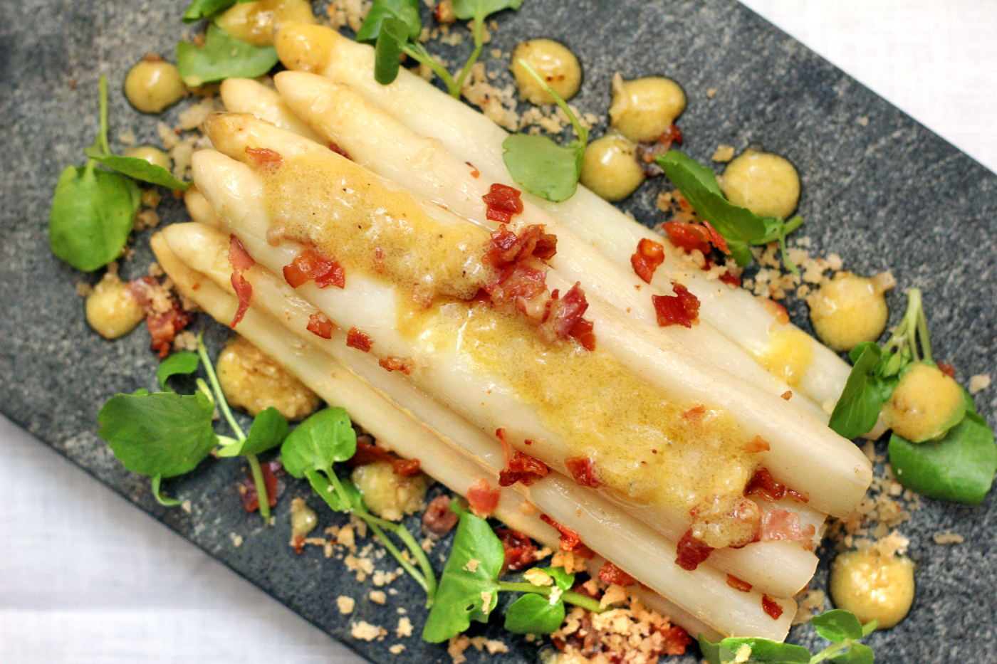 White Asparagus with Ibérico Ham and Hazelnut Migas
