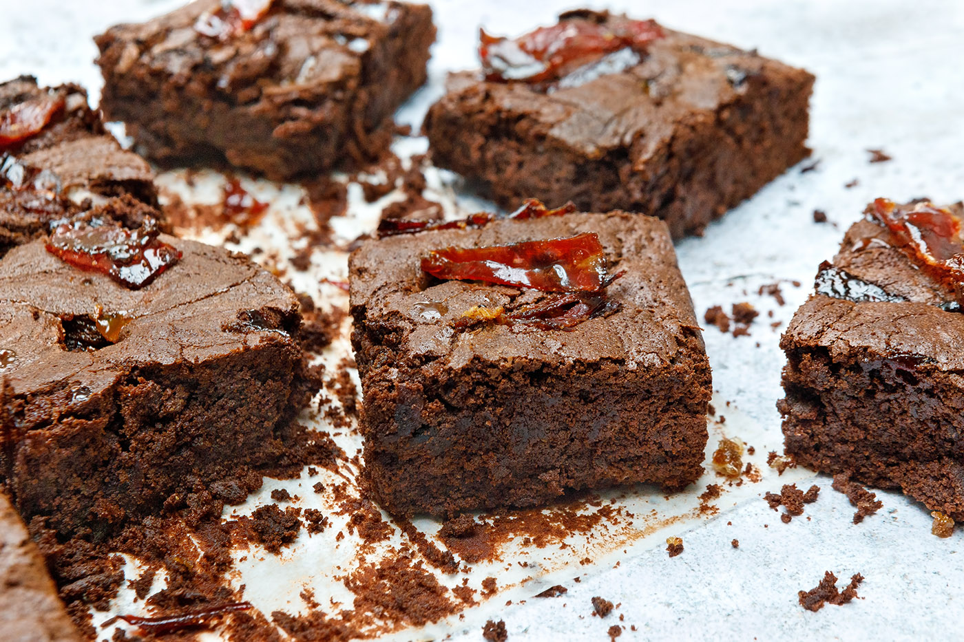 Ibérico Ham and Dulce de Leche Brownies