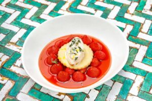 Macerated Strawberries in Palo Cortado Sherry with Sablée biscuit and Thyme Ice Cream