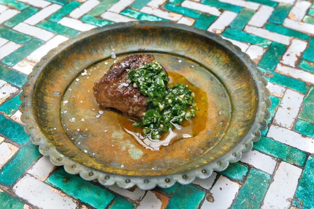 Barbecued Pluma Iberica with Hazelnut Gremolata