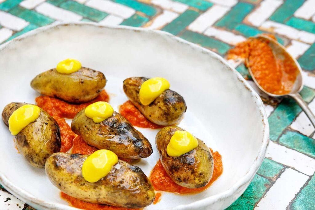 Barbecued Potatoes with Romesco and Saffron Aioli