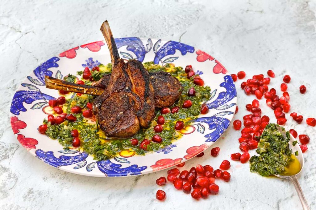 Spiced lamb cutlets with preserved lemon, pomegranate and salsa verde